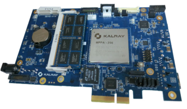 The MPPA BOARD EMB01 provides a complete environment to prototype and produce compute intensive applications and delivers the processing power of the 256 cores of the MPPA-256 processor, associated with a market standard host processor.
