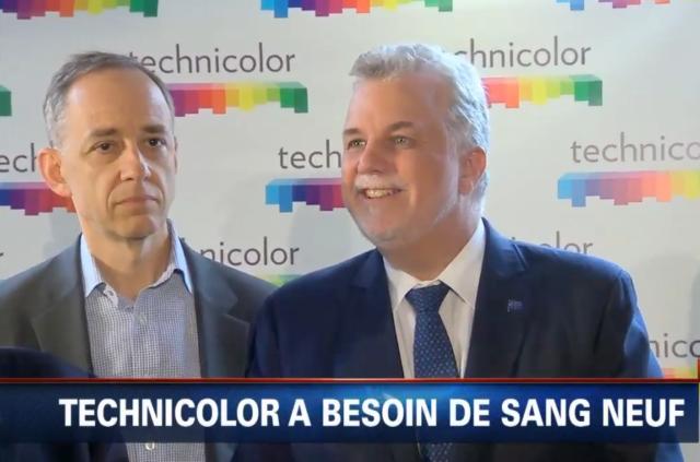 Frédéric Rose, directeur général de Technicolor, et le premier ministre du Québec, Philippe Couillard.