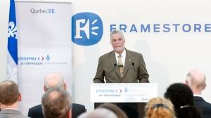 Le premier ministre, Philippe Couillard lors de l'inauguration des nouvelles installations de l'entreprise Framestore, le 25 mai 2015. (c) DR.