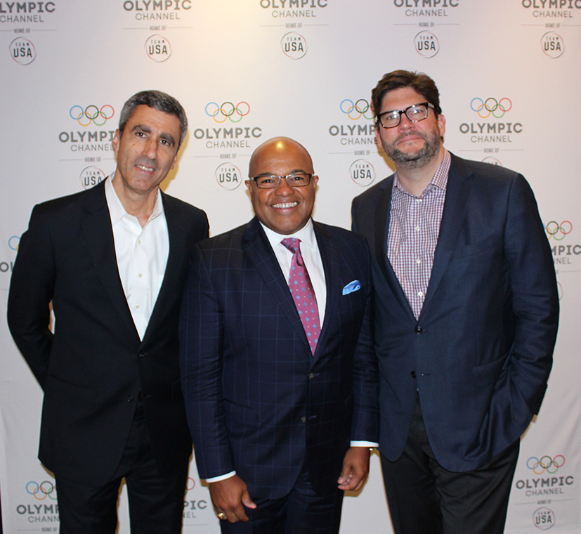 Gary Zenkel, President, NBC Olympics; Mike Tirico, NBC Olympics Primetime Host; and Jim Bell, President, Production and Executive Producer, NBC Olympics